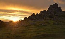 Sunrise on Hound Tor Stock Image