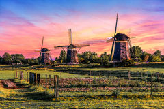 Sunrise over the Windmills Stock Photos