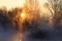 Sunrise on hunting lake Royalty Free Stock Photo