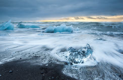 Sunrise at Ice beach,  jokulsarlon, Iceland. Royalty Free Stock Photos