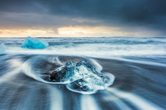 Sunrise at Ice beach,  jokulsarlon, Iceland Stock Photography