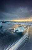 Sunrise at ice beach jokulsarlon, Iceland. Royalty Free Stock Images