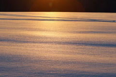 Sunrise on ice covered snow Royalty Free Stock Images