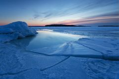 Sunrise with ice Stock Image