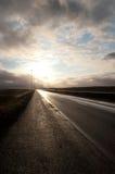 Sunrise in Iceland. Sunrise on the road near Reykjavik in Iceland Royalty Free Stock Photo