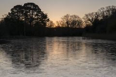 Sunrise on an icy morning at the Ornamental Pond, Southampton Common royalty free stock image