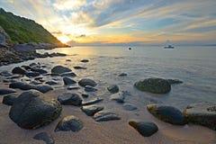 Sunrise on idyllic tropical beach Royalty Free Stock Image