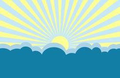 Sunrise Illustration. Yellow sunrise / sunset over blue clouds illustration Royalty Free Stock Images