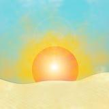 Sunrise. Illustration with sunrise in desert Royalty Free Stock Photo