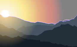 Sunrise illustration over high mountain peaks. Royalty Free Stock Photo