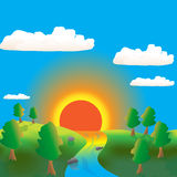 Sunrise illustration Stock Photos