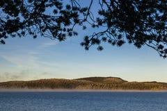 Sunrise at Inari lake, Finland Stock Image