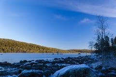 Sunrise at Inari lake, Finland Stock Photos