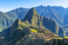 Sunrise in Machu Picchu, Peru royalty free stock photography