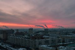 Sunrise in an industrial city Stock Photos