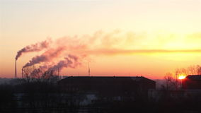 Sunrise of the industrial city. Omsk. Timelapse View Royalty Free Stock Photography