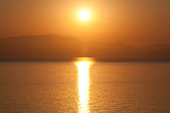 Sunrise on the Ionian sea. Stock Photo