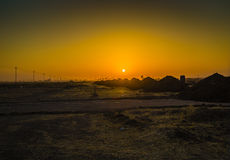 Sunrise in Iraqi desert Stock Photo