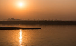 Sunrise on Irrawaddy river, Myanmar Stock Images