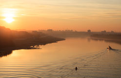 Sunrise on the Irtysh River. Stock Photo