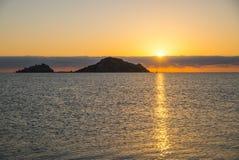 Sunrise. Isola dell Ogliastra, Sardinia. Ogliastra islands near Santa Maria Navarrese, Sardinia. Sunrise royalty free stock photography