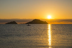Sunrise. Isola dell Ogliastra, Sardinia. Ogliastra islands near Santa Maria Navarrese, Sardinia. Sunrise stock photo