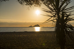 Sunrise. Isola dell Ogliastra, Sardinia. Ogliastra islands near Santa Maria Navarrese, Sardinia. Sunrise royalty free stock photos