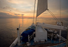Sunrise in Italy while Sailing Stock Images