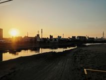 Sunrise in japan royalty free stock photography