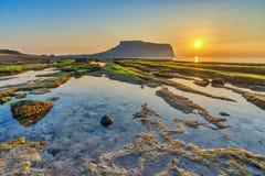 Jeju Island Korea. Sunrise at Jeju Do Seongsan Ilchulbong, Jeju Island, South Korea royalty free stock images