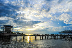 Sunrise at Jetty. A sunrise at Jetty in Tawau Sabah Malaysia Royalty Free Stock Image