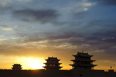 Sunrise of the Jiayuguan Pass Tower Royalty Free Stock Photography