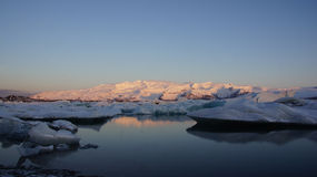 Sunrise at Jokulsarlon glacier lake Royalty Free Stock Images