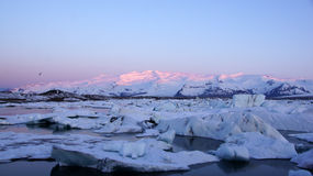 Sunrise at Jokulsarlon glacier lake Stock Photos