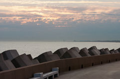 Sunrise. In July at a dike in Ostend Belgium Royalty Free Stock Photography