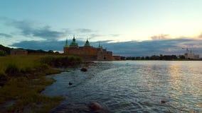 Sunrise at Kalmar castle stock video
