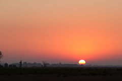 Sunrise on the Kansas Prairie. Sunrise on the prairie near Great Bend, Kansas, USA Stock Photo