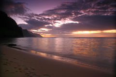 Sunrise in Kauai Hawaii With Bold Colors Stock Image
