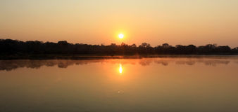Sunrise at Kavango river. Namibia royalty free stock image