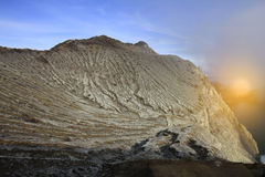 Sunrise at Kawa Ijen Volcanic mountain. Indonesia Stock Image