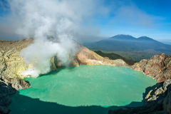 Sunrise at Kawah Ijen, panoramic view, Indonesia Stock Images