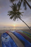 Sunrise with kayak boat and coconut palm trees on tropical beach background Stock Photography