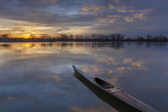 Sunrise kayak paddling Royalty Free Stock Images