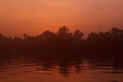 Sunrise on Kerala Backwaters Royalty Free Stock Photos
