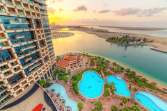 Sunrise at the Khalidiya Palace resort in Abu Dhabi, UAE Royalty Free Stock Images