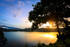 Sunrise at khao sok Stock Photo
