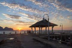 Sunrise at Khlong Kian Pier at dawn Stock Photography