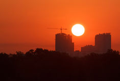 Sunrise in Kiev. View on rising sun in Kiev, Ukraine Royalty Free Stock Photo