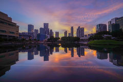 Sunrise At KLCC Lake Royalty Free Stock Photos