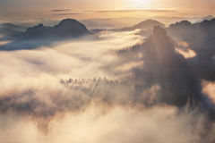 Sunrise from Kleiner Winterberg, Bohemian Switzerland Stock Images